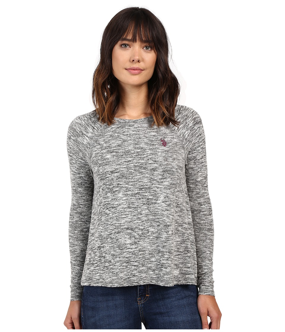 U.S. POLO ASSN. - Long Sleeve Hatchi T-Shirt Sweater (Dark Grey Combo) Women's Sweater