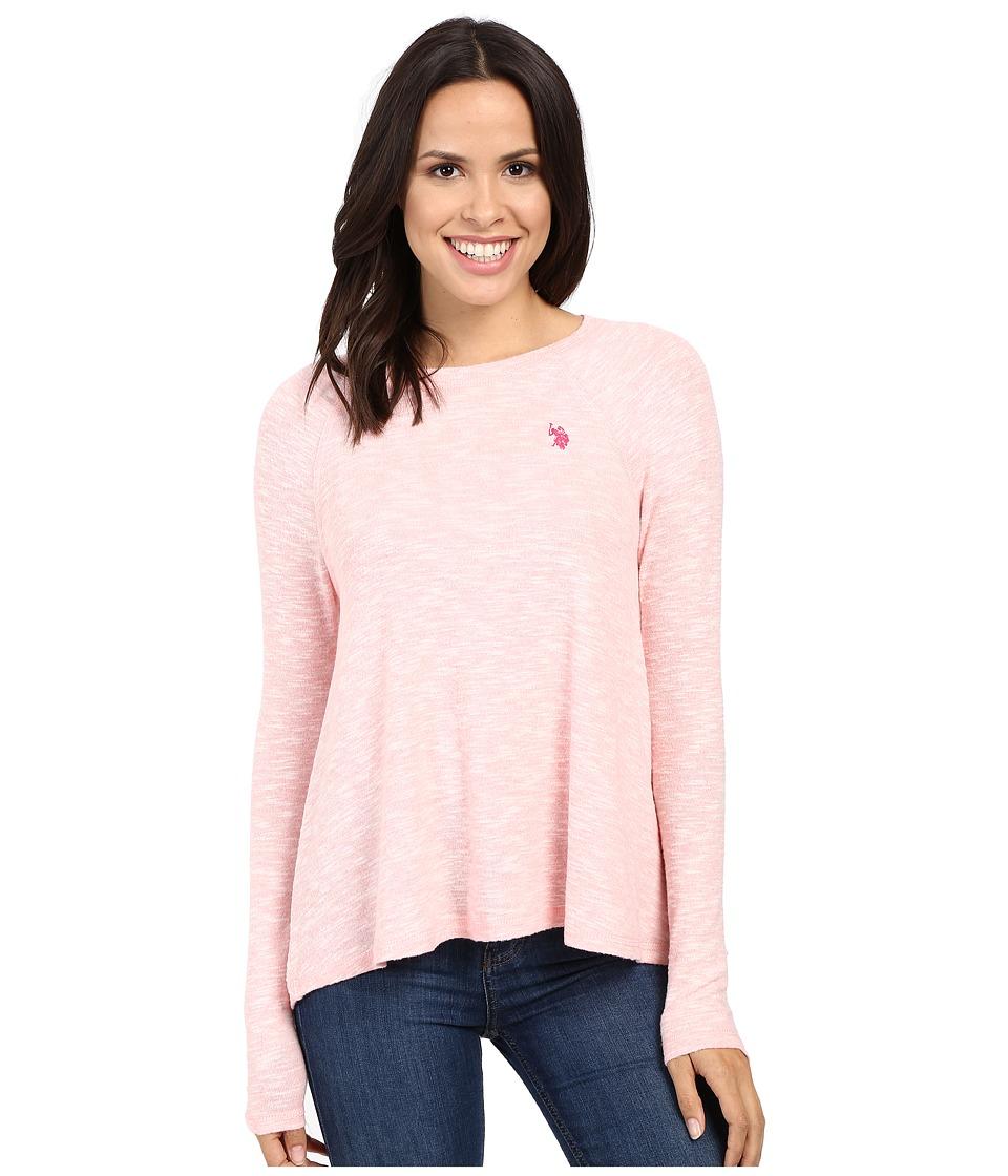 U.S. POLO ASSN. - Long Sleeve Hatchi T-Shirt Sweater (Powder Pink Combo) Women's Sweater