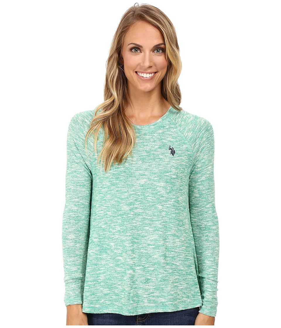 U.S. POLO ASSN. - Long Sleeve Hatchi T-Shirt Sweater (Peacock Green Combo) Women's Sweater