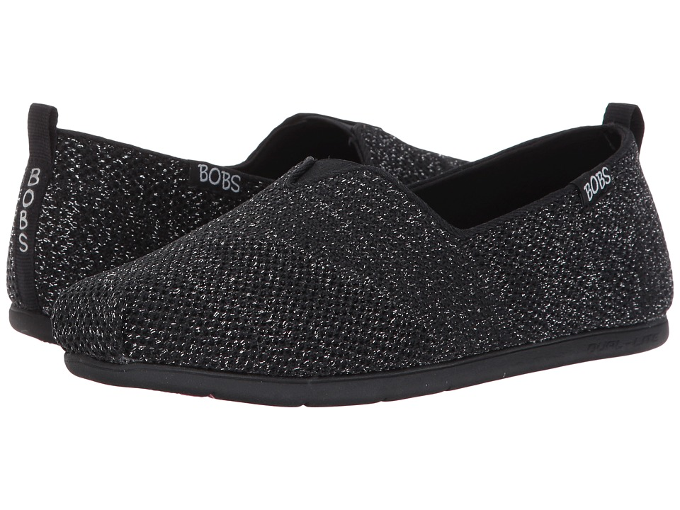 BOBS from SKECHERS - Plush Lite - Flash Lite (Black) Women's Slip on Shoes