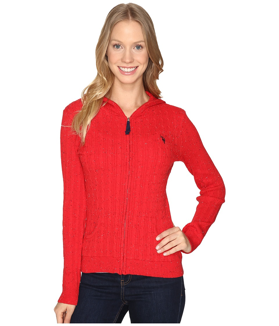 U.S. POLO ASSN. - Donegal Cable Hoodie Sweater (Racing Red Combo) Women's Sweater