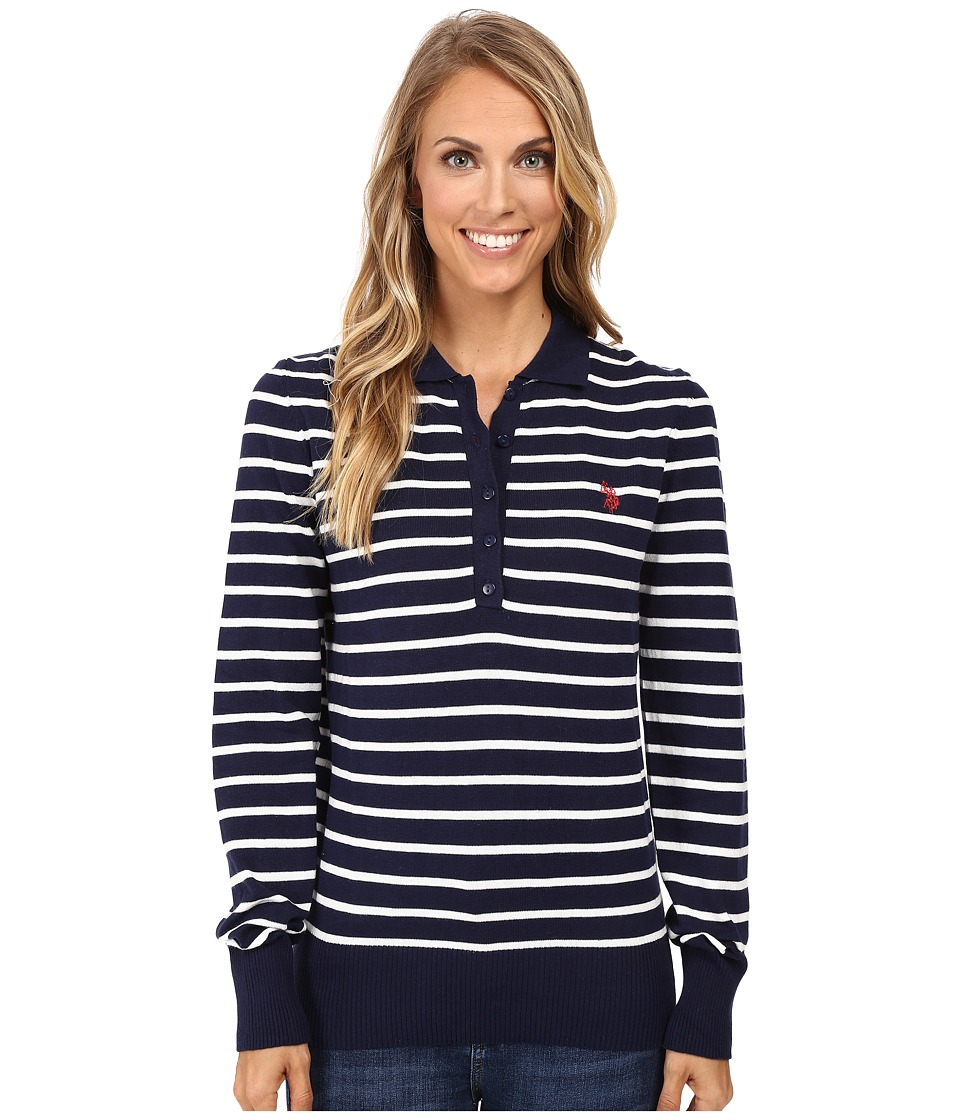 U.S. POLO ASSN. - Striped Polo Sweater (Tribal Navy Combo) Women's Sweater