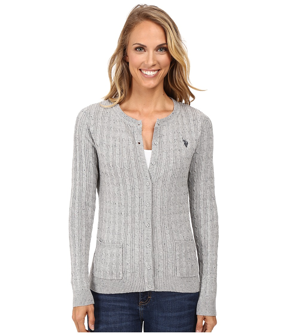 U.S. POLO ASSN. - Donegal Cable Cardigan Sweater (Medium Heather Grey Combo) Women's Sweater