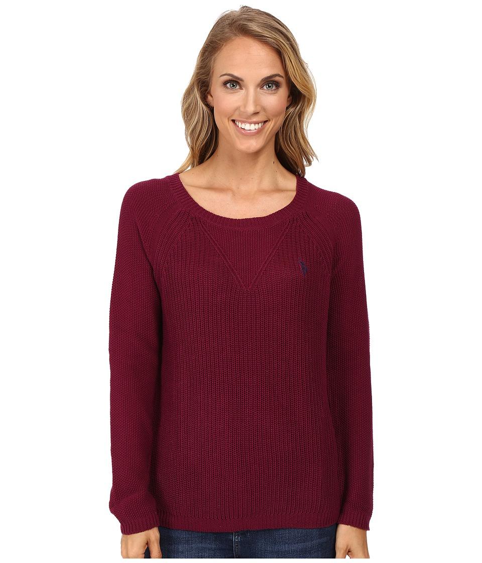 U.S. POLO ASSN. - V-Inset Raglan Sleeve Sweater (Merlot Combo) Women's Sweater