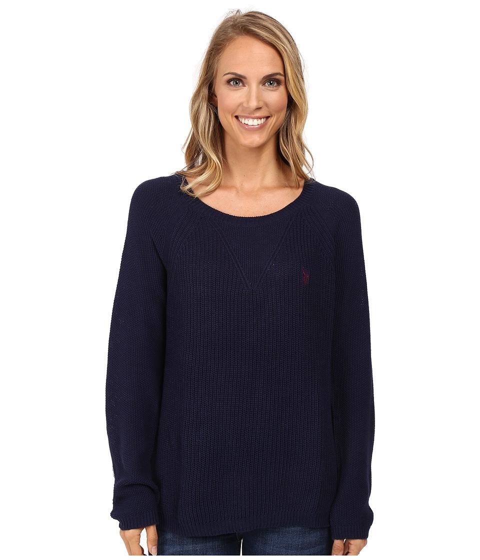 U.S. POLO ASSN. - V-Inset Raglan Sleeve Sweater (Tribal Navy Combo) Women's Sweater