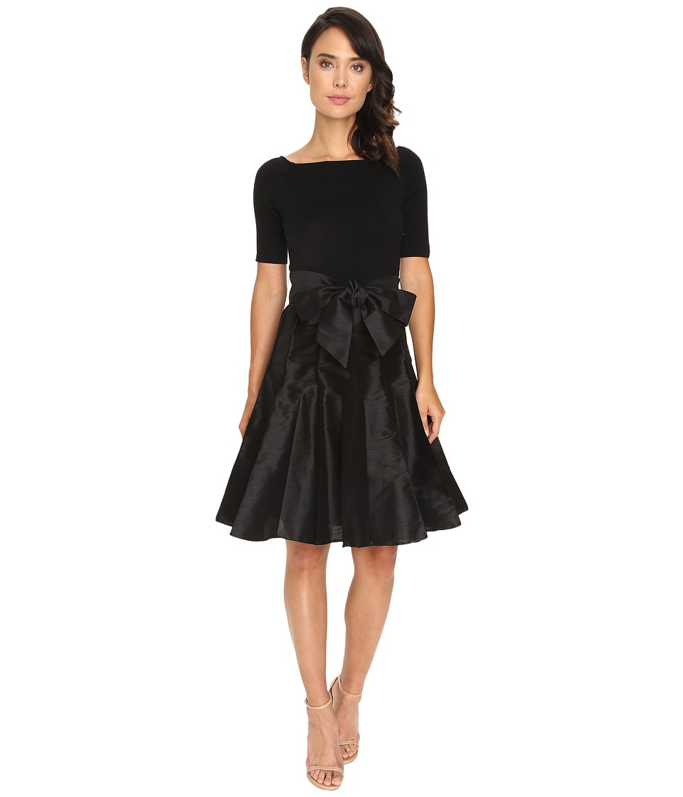 NUE by Shani - Full Fashioned Knit Dress with Dupioni Skirt (Black) Women's Dress