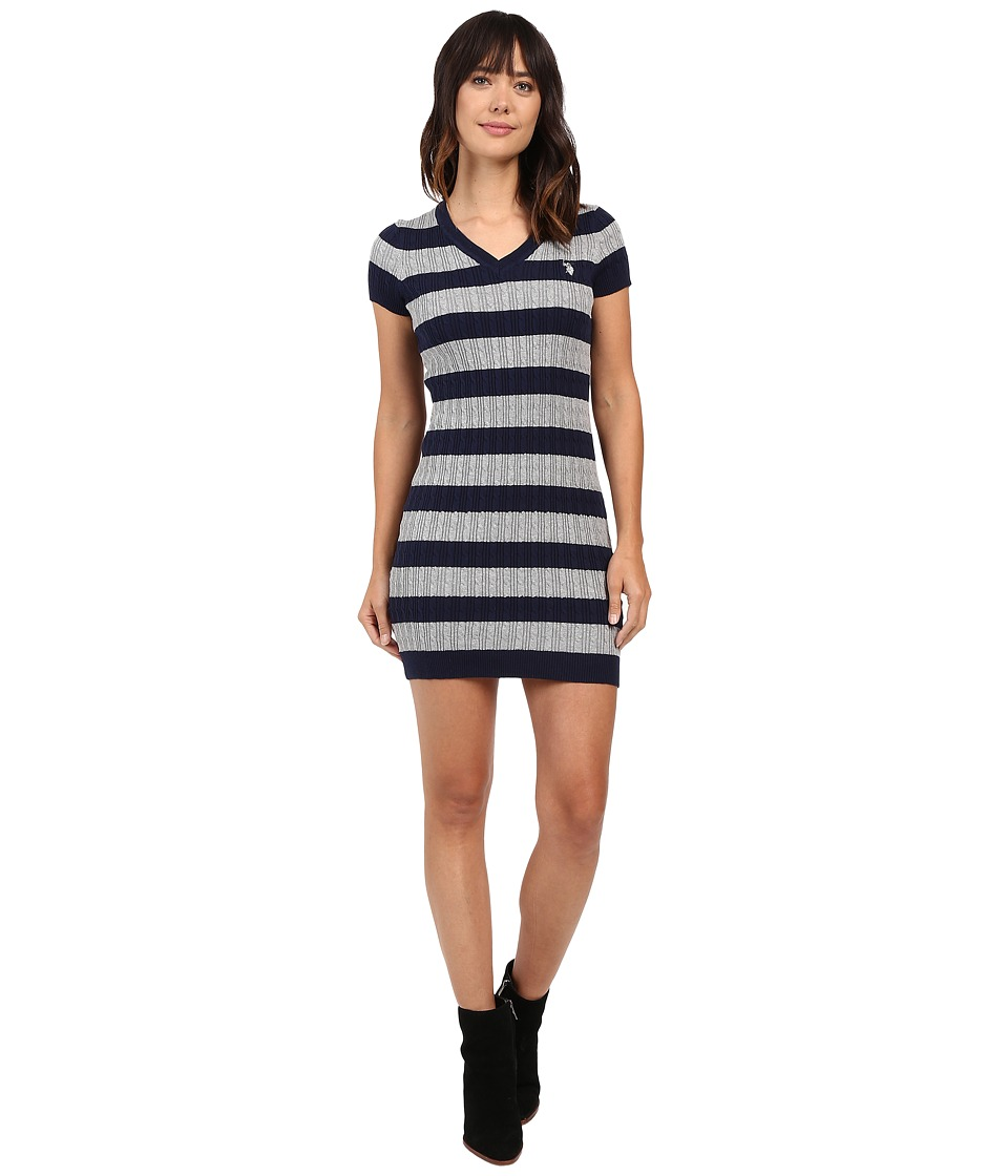 U.S. POLO ASSN. - Stripe Cable V-Neck Dress (Evening Blue) Women's Dress