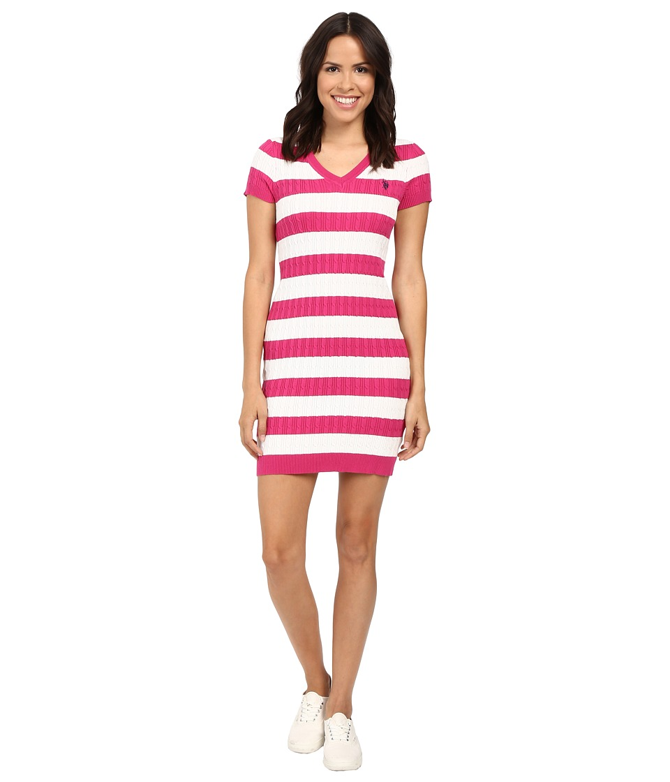 U.S. POLO ASSN. - Stripe Cable V-Neck Dress (Very Berry) Women's Dress