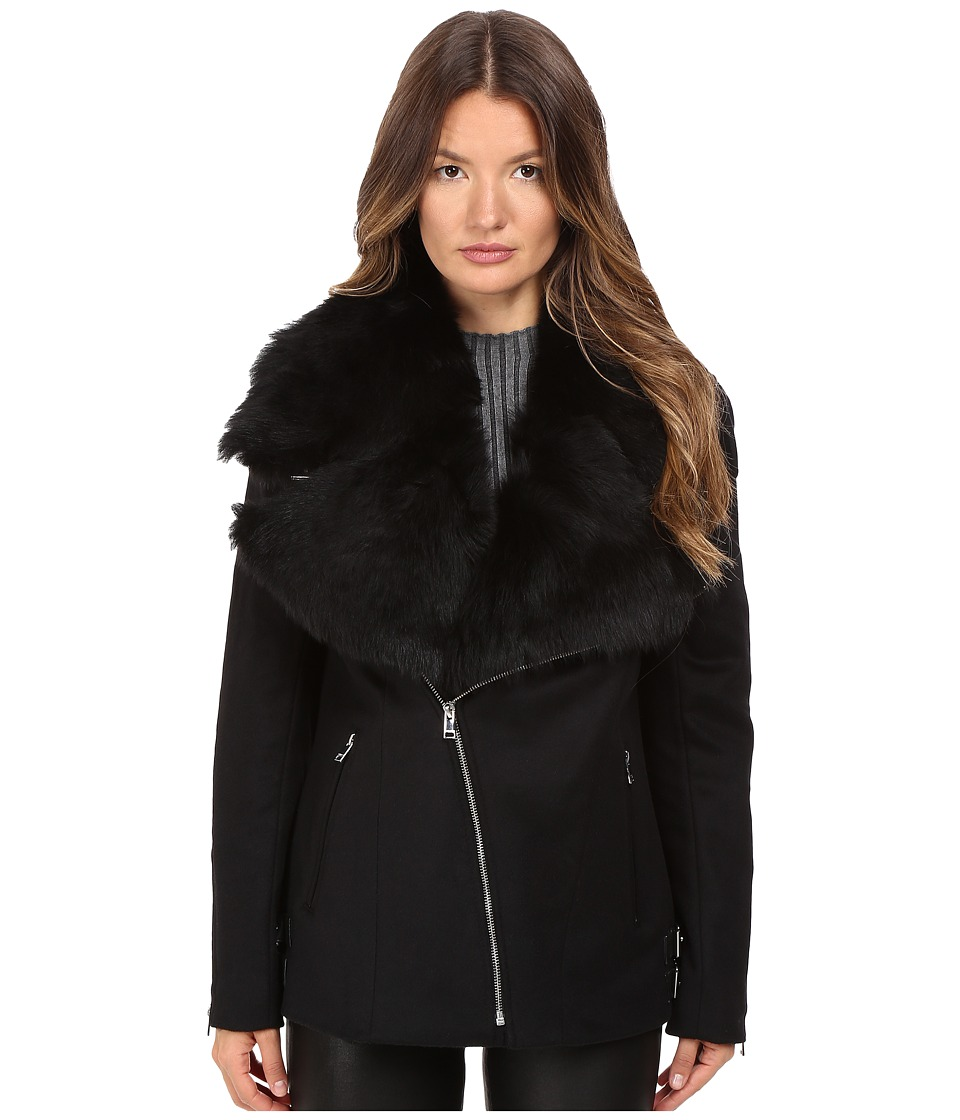 LAMARQUE - Kiri Biker Coat w/ Detachable Shearling Collar (Black) Women's Coat