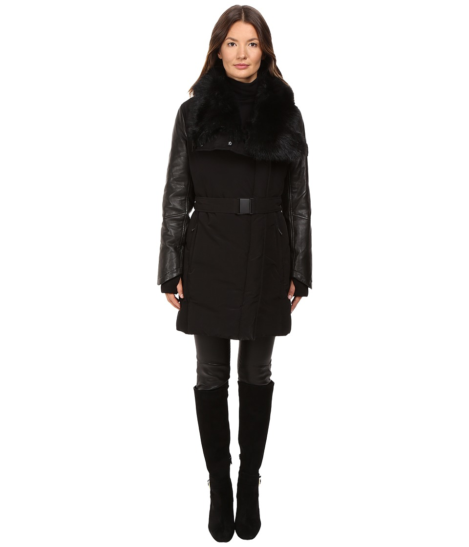 LAMARQUE - Kennedy Belted Down Coat w/ Shearling Leather (Black) Women's Coat