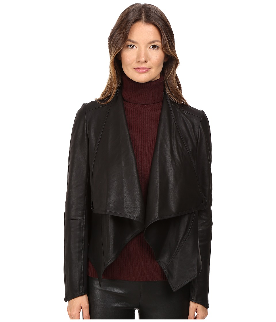 LAMARQUE - Madison Leather Asymmetric Jacket (Black) Women's Coat