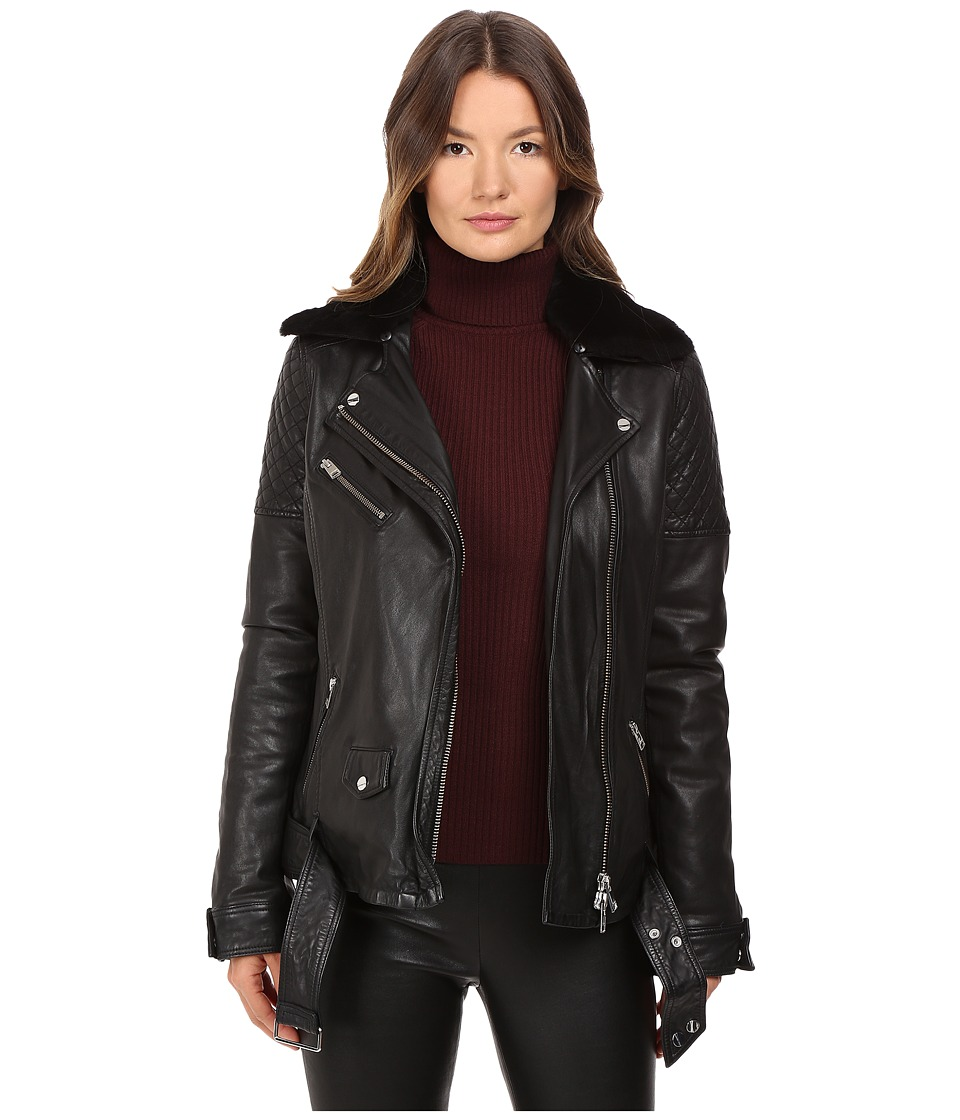 LAMARQUE - Alura Bike Jacket w/ Removable Shearling Collar (Black) Women's Coat