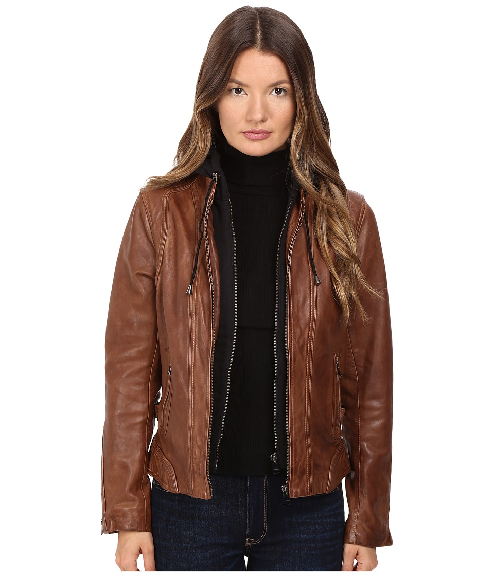 LAMARQUE - Arlette Moto Jacket with Removable Hoodie (Rawhide) Women's Coat