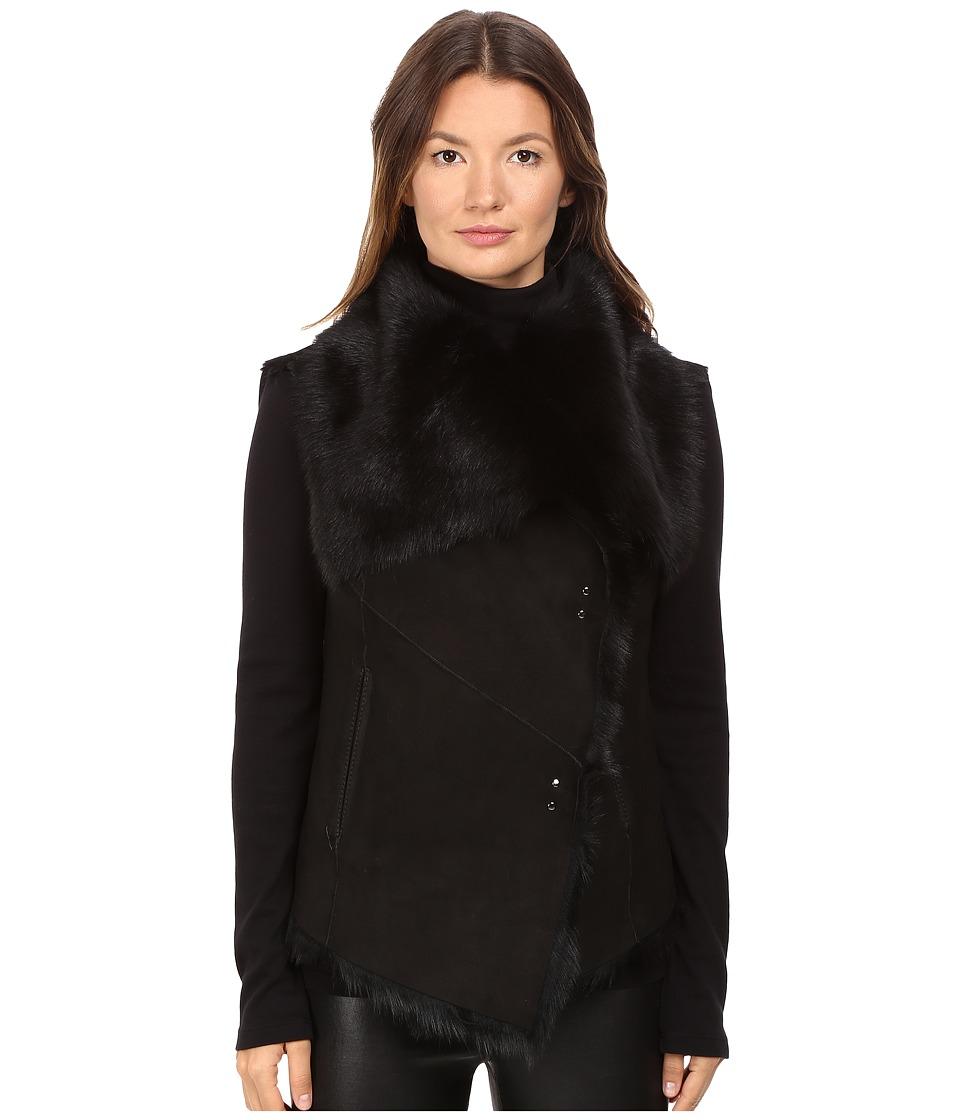 LAMARQUE - Nina Toscana Shearling Vest (Black) Women's Vest