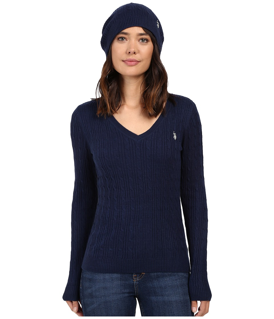 U.S. POLO ASSN. - V-Neck Cable with Beanie (Medieval Blue) Women's Sweater
