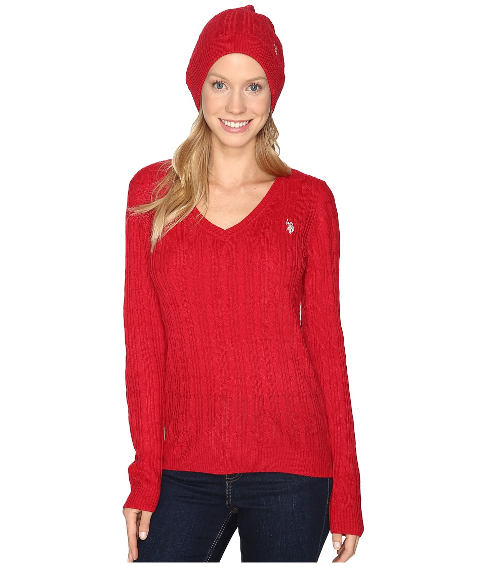 U.S. POLO ASSN. - V-Neck Cable with Beanie (Crimson) Women's Sweater