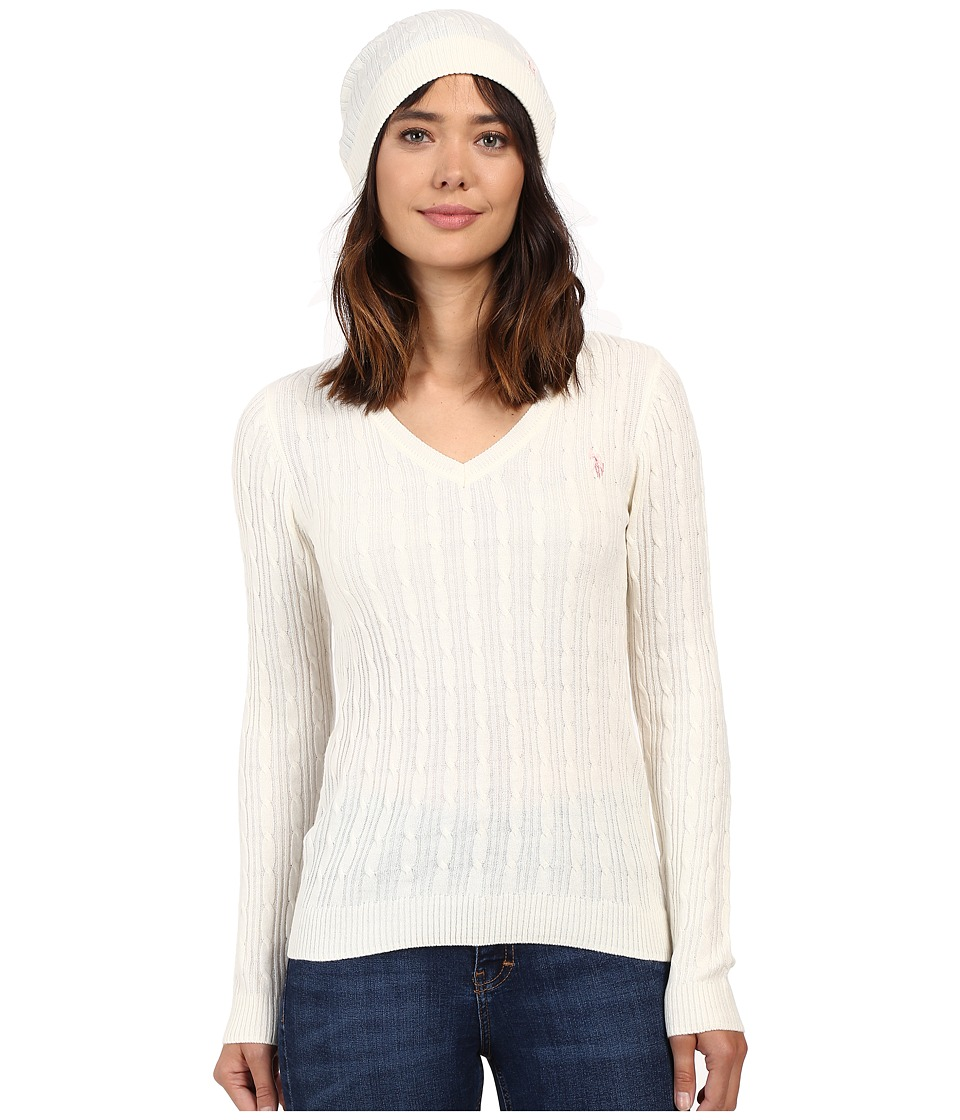 U.S. POLO ASSN. - V-Neck Cable with Beanie (Marshmallow) Women's Sweater