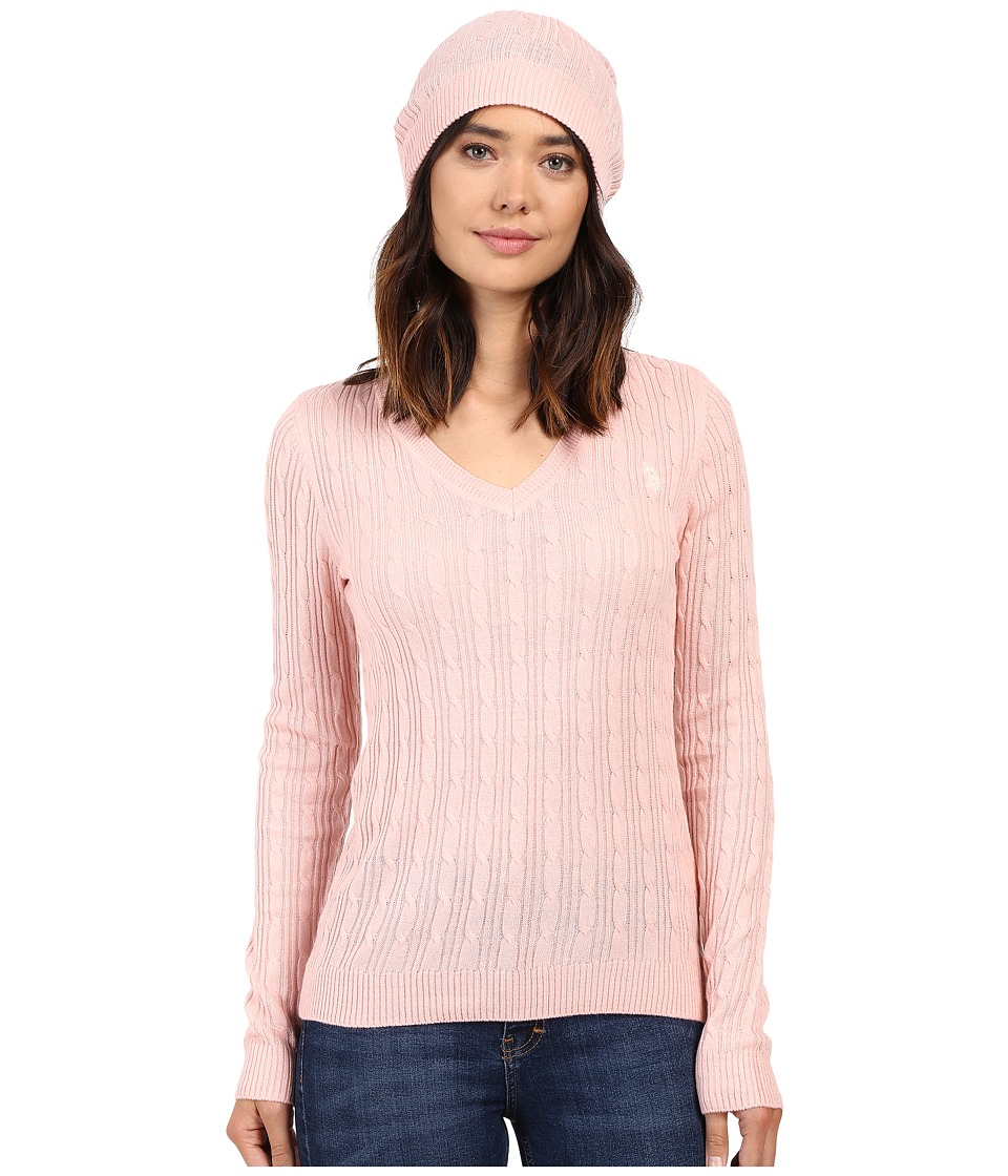 U.S. POLO ASSN. - V-Neck Cable with Beanie (Powder Pink) Women's Sweater