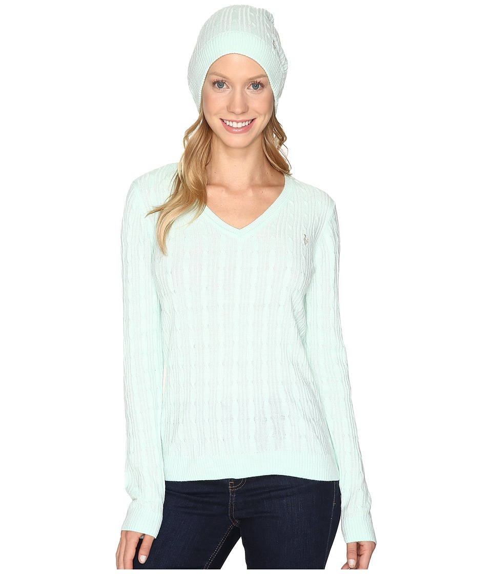 U.S. POLO ASSN. - V-Neck Cable with Beanie (Fair Aqua) Women's Sweater