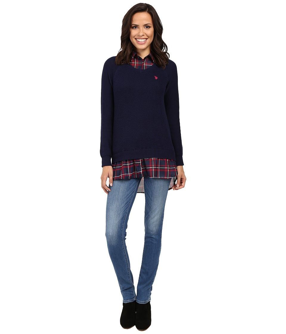 U.S. POLO ASSN. - Plaid Twofer Sweater Top (Tribal Navy Combo) Women's Sweater