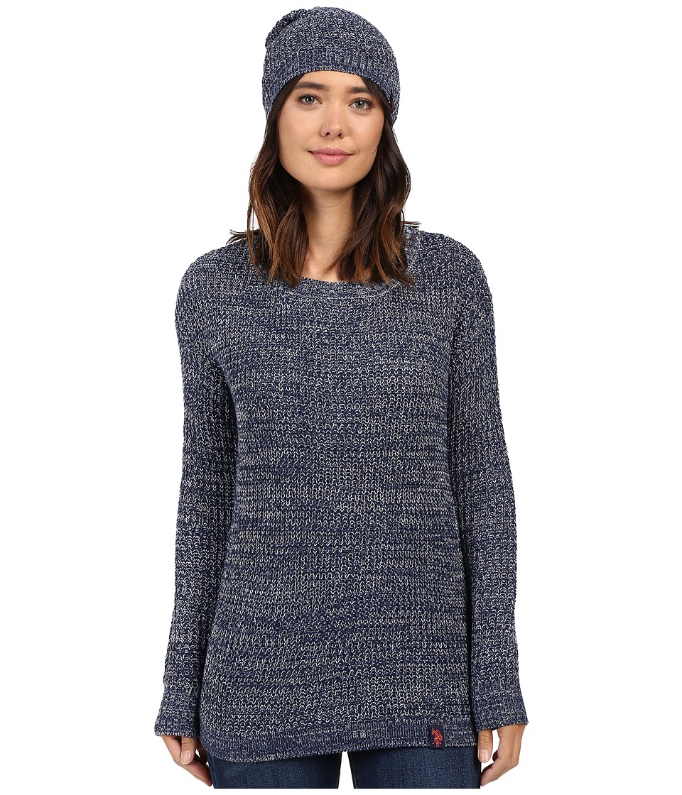 U.S. POLO ASSN. - Crew Neck with Beanie (Medieval Blue/Nimbus Cloud) Women's Sweater