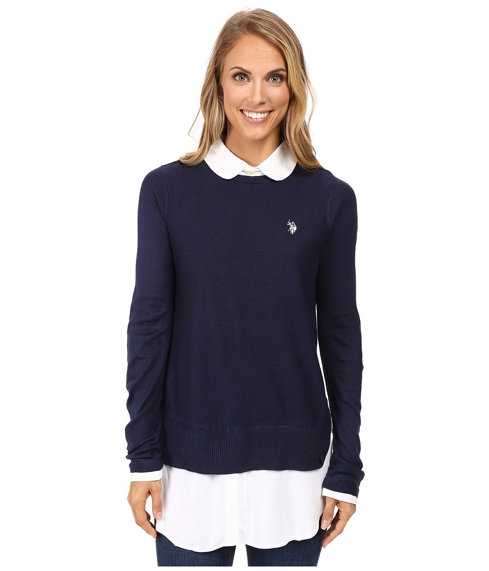 U.S. POLO ASSN. - Solid Tunic Twofer Sweater Top (Tribal Navy Combo) Women's Sweater