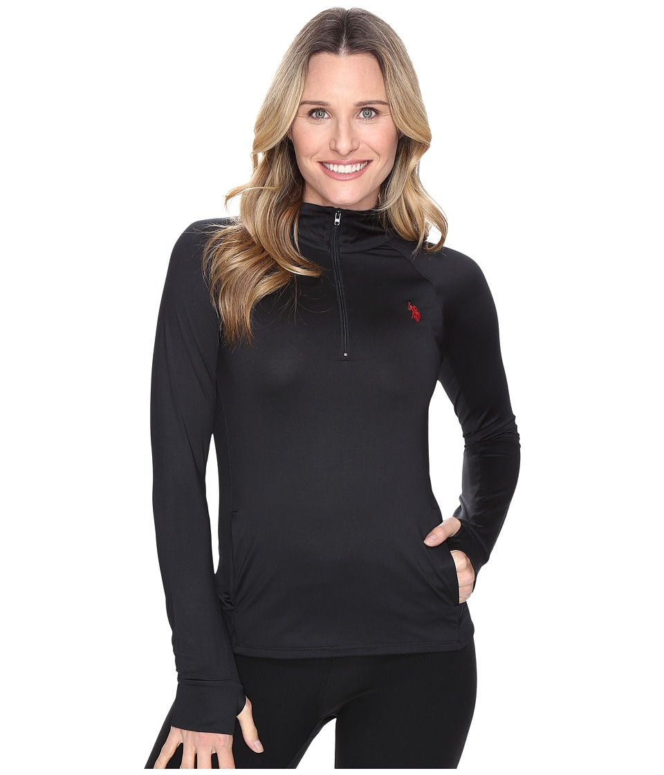 U.S. POLO ASSN. - Poly/Spandex Long Sleeve 1/4 Zip Active Knit Top (Black Solid) Women's Sweater