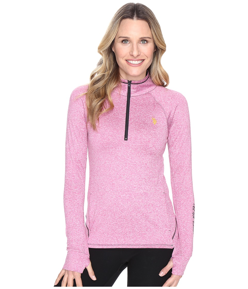 U.S. POLO ASSN. - Poly/Spandex Long Sleeve 1/4 Zip Active Knit Top (Rose Violet Heather Combo) Women's Sweater