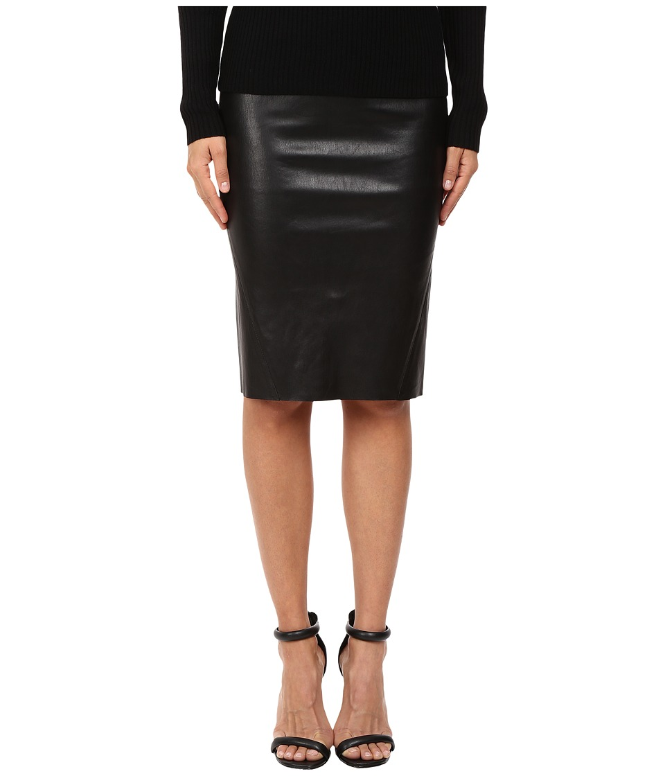 LAMARQUE - Avana Stretch Leather Pencil Skirt (Black) Women's Skirt