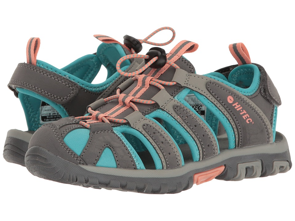 Hi-Tec Kids - Cove Jr (Toddler/Little Kid/Big Kid) (Cool Grey/Blue Curacao/Papaya) Girls Shoes