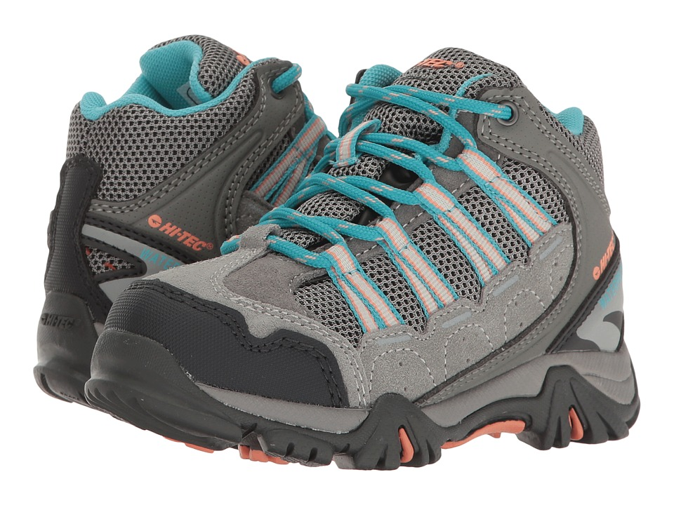 Hi-Tec Kids - Forza Mid Waterproof Jr (Toddler/Little Kid/Big Kid) (Cool Grey/Blue Curacao/Papaya Punch) Girls Shoes