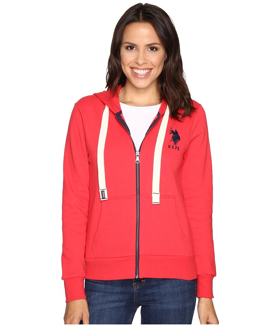 U.S. POLO ASSN. - Contrast Zipper Hoodie (Hibiscus Combo) Women's Sweatshirt