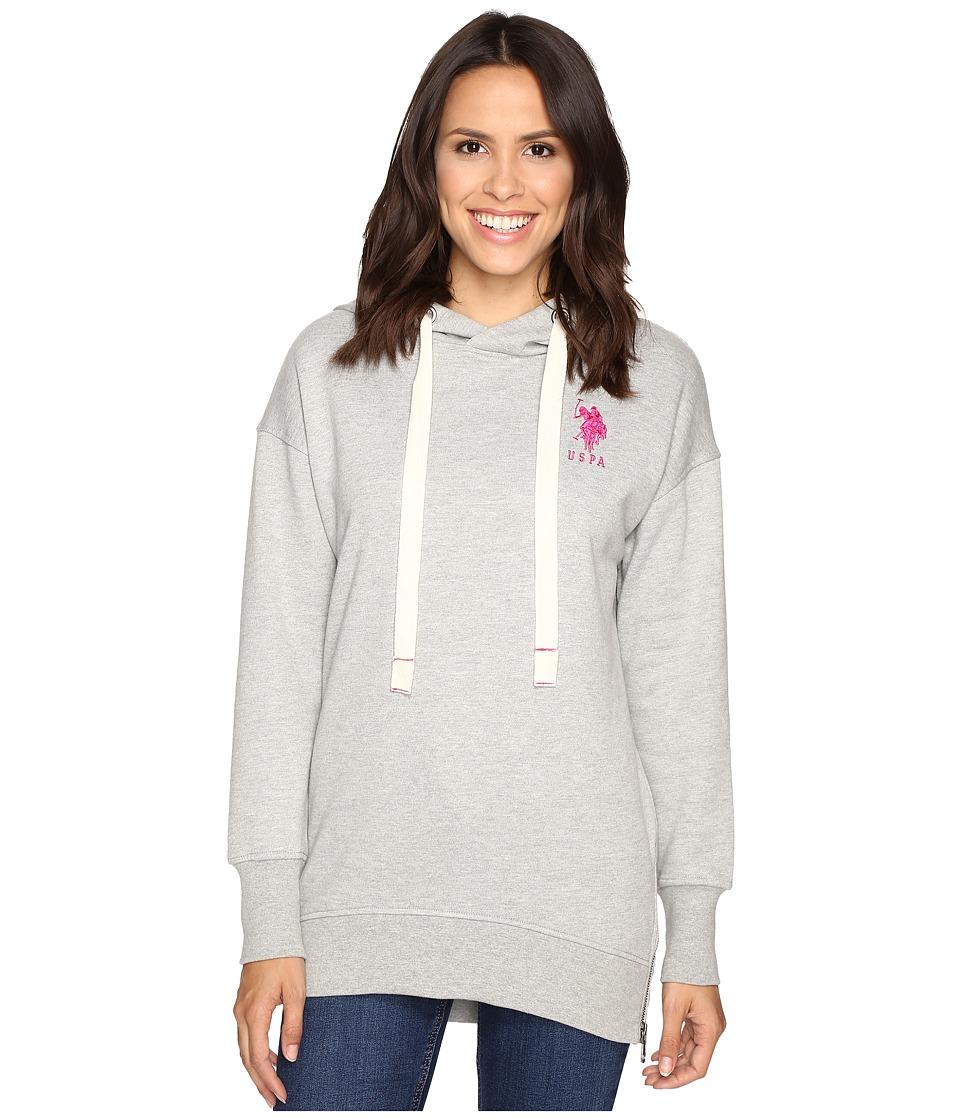 U.S. POLO ASSN. - Hi-Lo Tunic Hoodie (Medium Heather Grey Combo) Women's Sweatshirt
