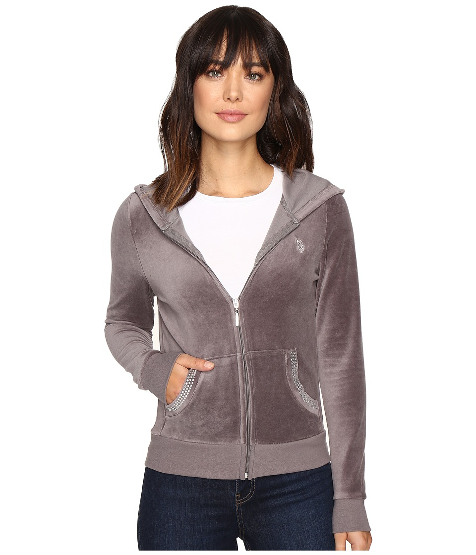 U.S. POLO ASSN. - Velour Hoodie (Steel Gray Combo) Women's Sweatshirt