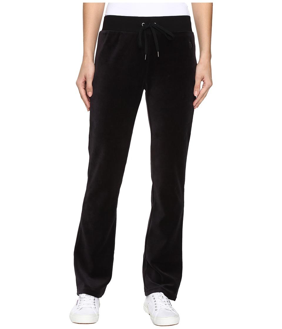 U.S. POLO ASSN. - Velour Pants (Black Combo) Women's Casual Pants