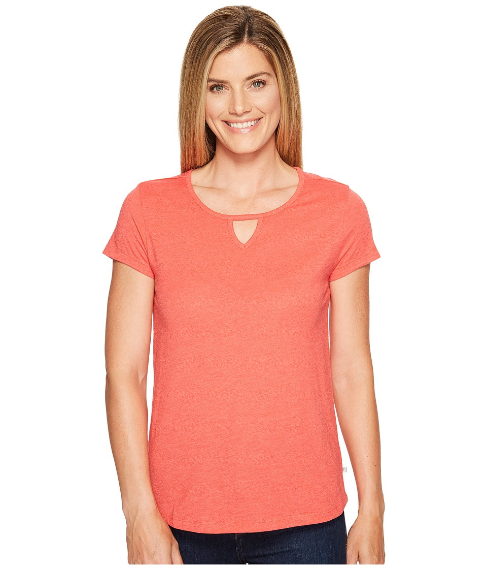 Toad&Co - Palmilla Cut Out Short Sleeve Tee (Bright Coral) Women's T Shirt