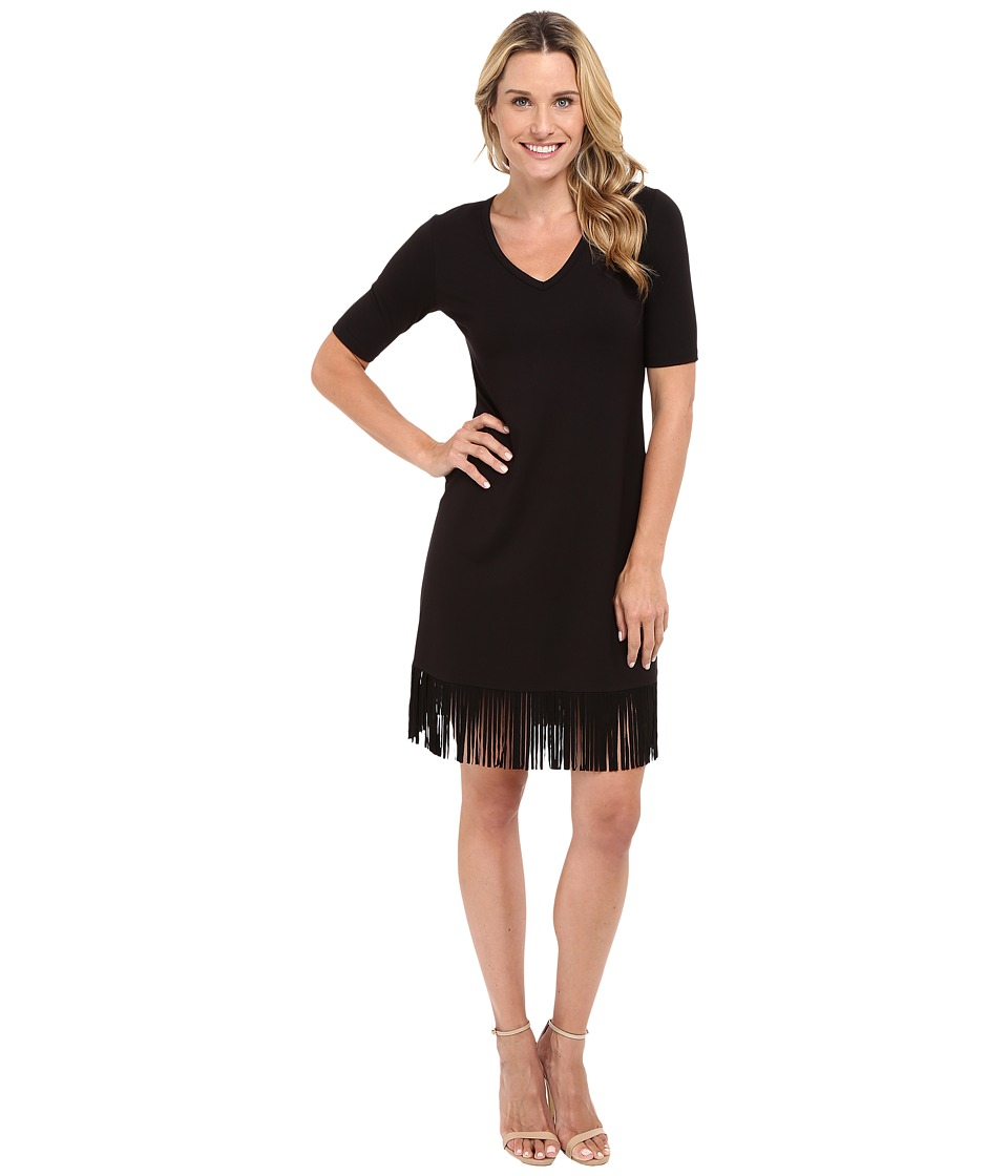 Karen Kane - Pencil Sleeve V-Neck Fringe Dress (Black) Women's Dress
