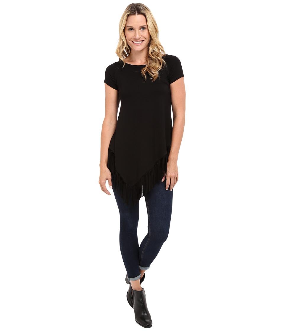 Karen Kane - Angled Fringe Tee (Black) Women's T Shirt