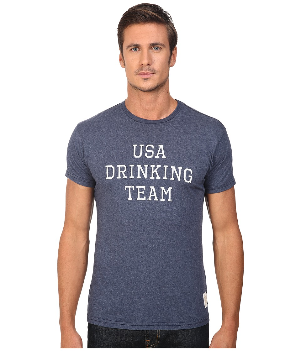 The Original Retro Brand - Short Sleeve USA Drinking Team Heather Tee (Heather Navy) Men's T Shirt