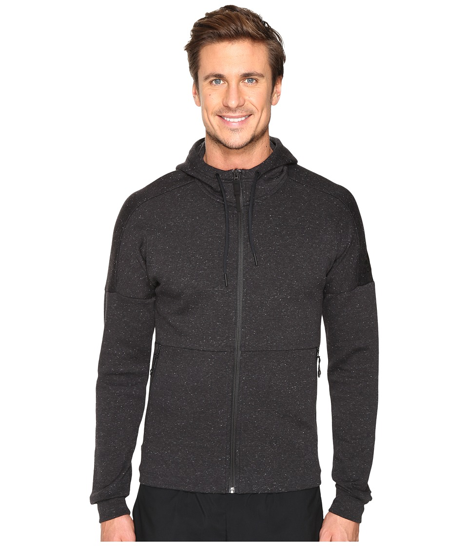 adidas - ID Stadium Full Zip Hoodie (Black/Black Melange) Men's Sweatshirt