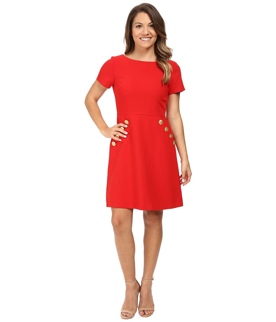 Tahari by ASL Petite Petite Crepe Button Pocket Fit and Flare (Lipstick Red) Women