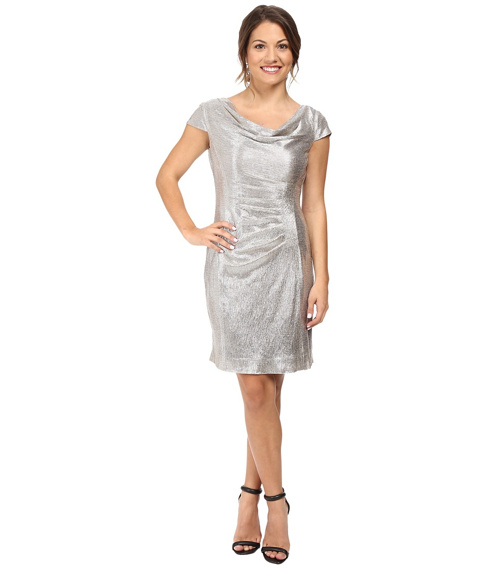 Tahari by ASL Petite - Petite Foil Knit Cowl Neck (Silver Powder) Women's Dress