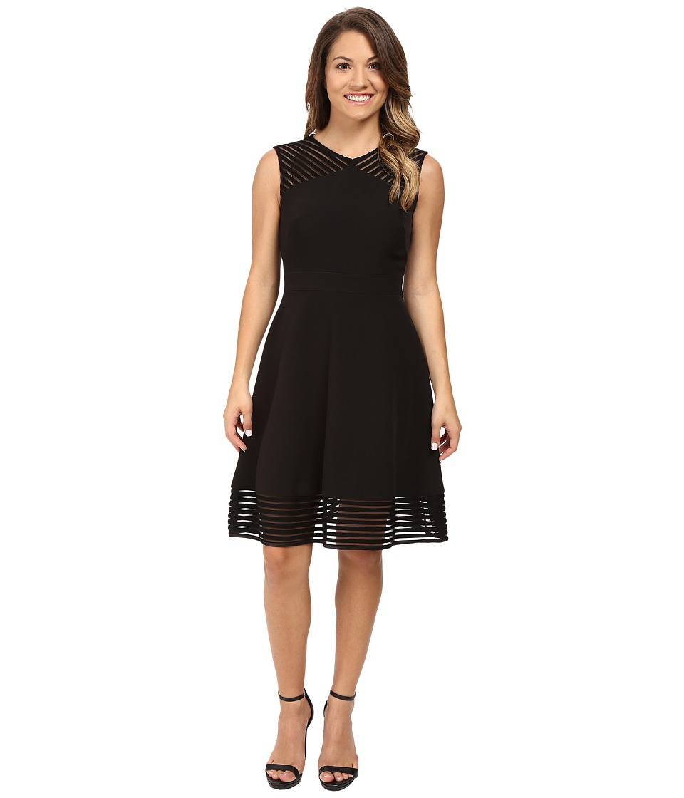 Tahari by ASL Petite - Petite Crepe with Illusion At Hem and Shoulder (Black) Women's Dress