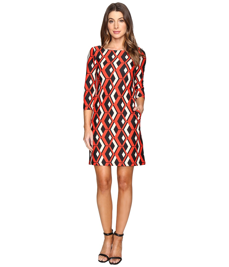 Taylor - Printed Ponte Shift Dress (Scarlet Red) Women's Dress