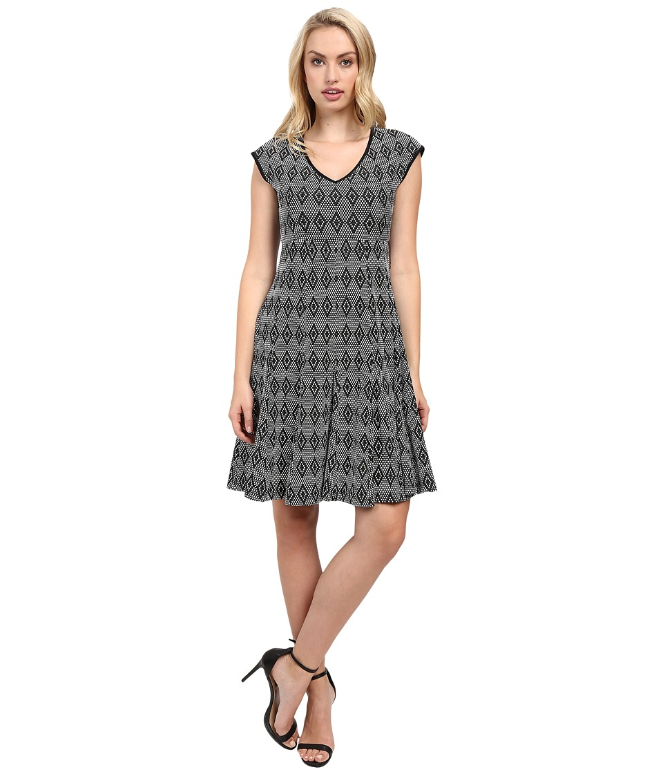Taylor - Knit Jacquard Fit Flair Dress (Black/White) Women's Dress
