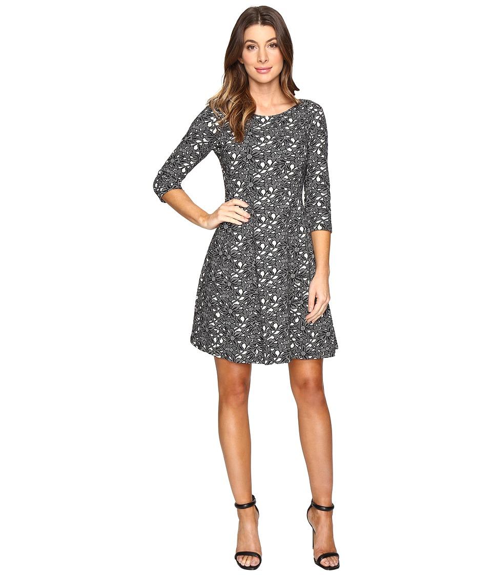Taylor - Knit Jacquard Fit Flair Dress (Black/Ivory) Women's Dress