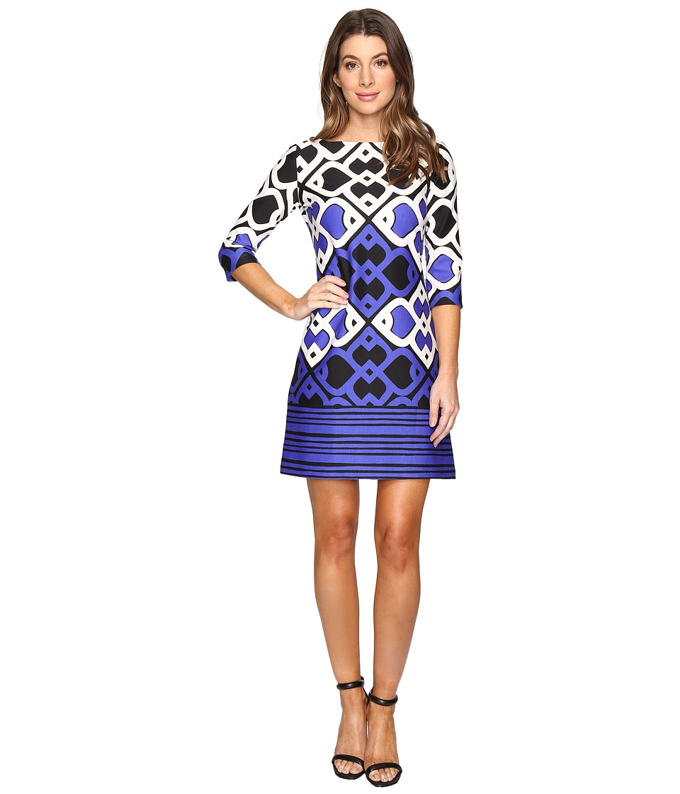 Taylor - Printed Ponte Shift Dress (Royal/Cream/Black) Women's Dress