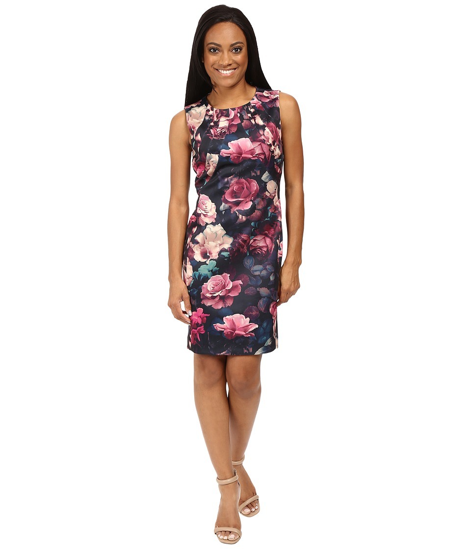 Tahari by ASL Petite - Petite Printed Scuba Seamed Sheath (Black/Rose/Ecru) Women's Dress