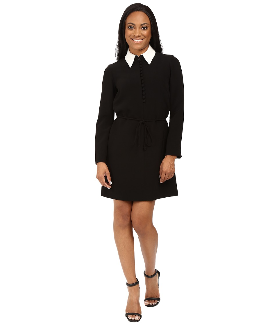 Tahari by ASL Petite - Petite Double Woven Shirtdress with Contrast Collar (Black/Ivory) Women's Dress