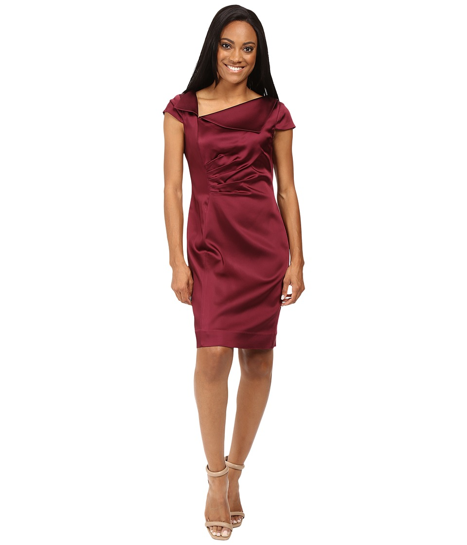 Tahari by ASL Petite - Petite Stretch Satin Fold-Over Neck (Wine) Women's Dress